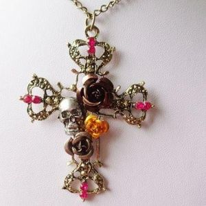 Jewelry - *LAST ONE* Unique Skull n Roses Cross Necklace